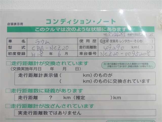【コンディション・ノート】☆車の状態を表示しています