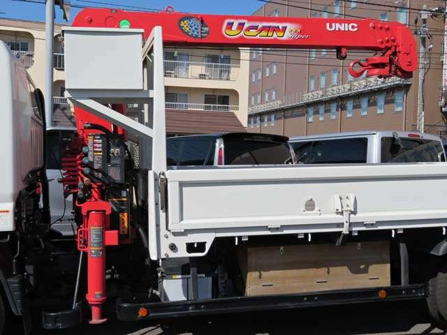 ユニック4段クレーン2.63t吊り・ラジコン・フックイン