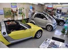 希少な車やコンディションの良い車が展示されるショールーム