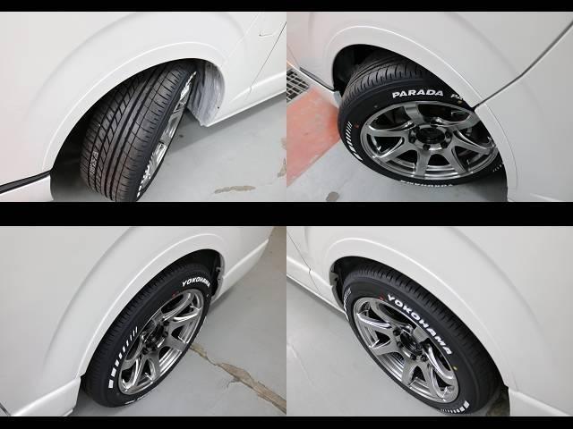 オリジナルオーバーフェンダー装着済み!!(若干ハミタイヤの為車検非対応)車検の際はノーマルタイヤでお願いします。