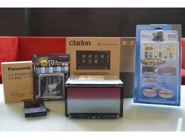 クラリオンSDナビゲーションパッケージでクラリオンNX716+パナソニックETC、クラリオンリアカメラがセットになりまして工賃込み197.640円にて販売いたしております。お気軽にお問合せください。