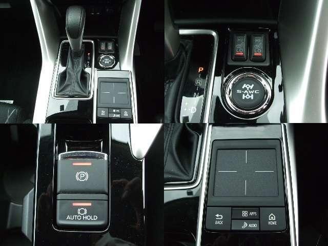 電動パーキングブレーキや、オートホールド機能も装備。3種類のモードが選べるS-AWCを搭載。ディスプレイオーディオ操作のタッチパッド付です。