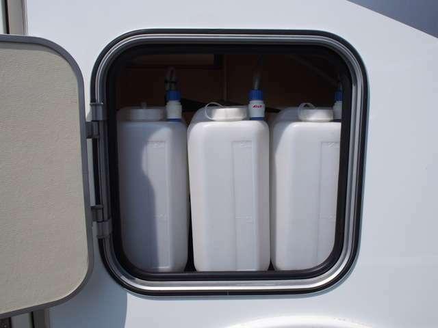 20L給水ポリタンク3個装備しておりますので、もしもの時も安心です☆