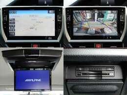 トヨタディーラーオプションのアルパイン10インチSDナビ&後席フリップダウンモニター搭載。フルセグ地デジTV/CD→SD録音/DVD/CD/Bluetooth等内蔵。ステアリング連動バックカメラ、純正ビルトインETC付き。