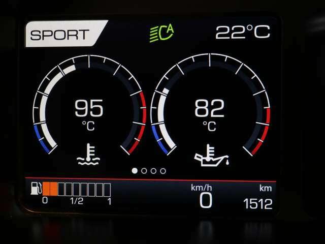レブカウンターの左側には、水温・油温やタイヤの空気圧などを表示することができます。