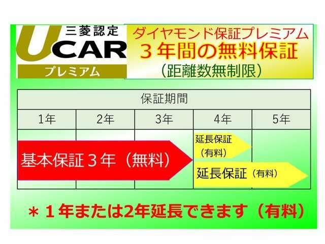 Aプラン画像:3年間、走行距離無制限のプレミアム認定中古車保証を+1年追加し合計5年間に延長致します。
