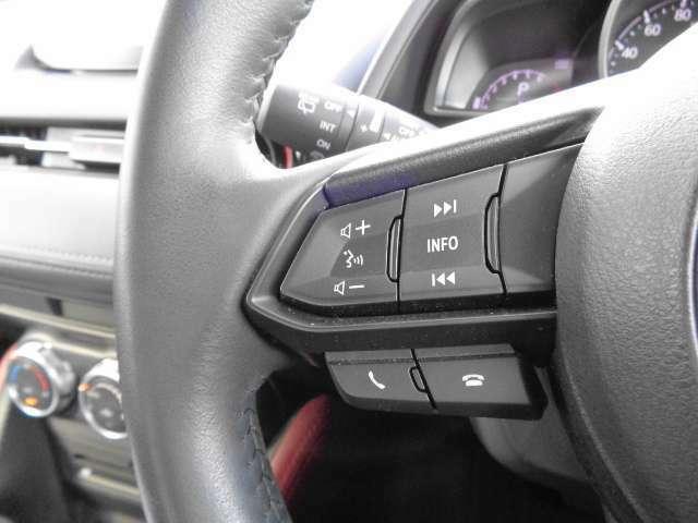 運転しながらも操作しやすい「ステアリングリモコンスイッチ」。オーディオ操作もステアリングで調整可能。