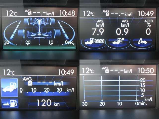 マルチファンクションディスプレイに燃費・アイドリングストップ等色々な情報を表示します。