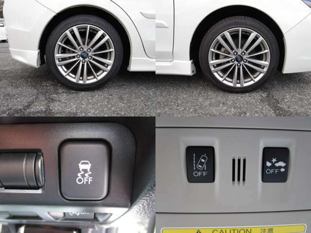 純正17インチアルミホイールで、VDC(横滑り防止装置)&アイサイトで、プリクラッシュブレーキ・AT誤発進抑制制御・車線逸脱警報・ふらつき警報・先行車発進お知らせ機能等で、ドライバーをサポートします。