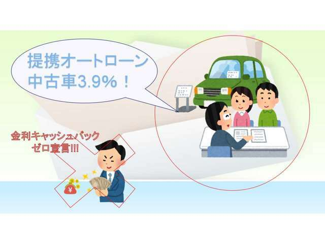 【提携ローン会社金利】中古車3.9%!手数料での金利かさまし等なく基本的には提携金利でのローン販売を実施しております!※お客様条件によりローン会社様からの指定金利の場合有