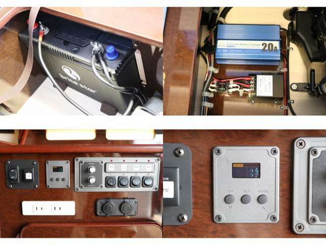 サブバッテリー 走行充電 外部電源・充電 電圧計 ナビ起動メインBT/サブBT切替スイッチ