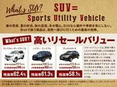 実用性を兼ね備えた【SUV】を幅広く取り扱っております。