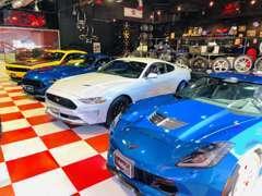 店内にはコルベット、カマロ、チャレンジャー、マスタングなどのアメリカンマッスルカーを多数展示しています。