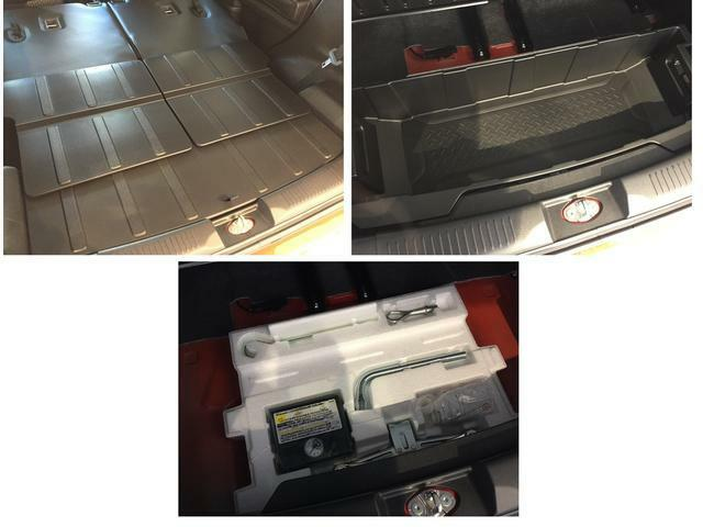 スペアタイヤのかわりにタイヤパンク応急修理セットを装備 その分後席広々、荷物もたっぷりつめます。