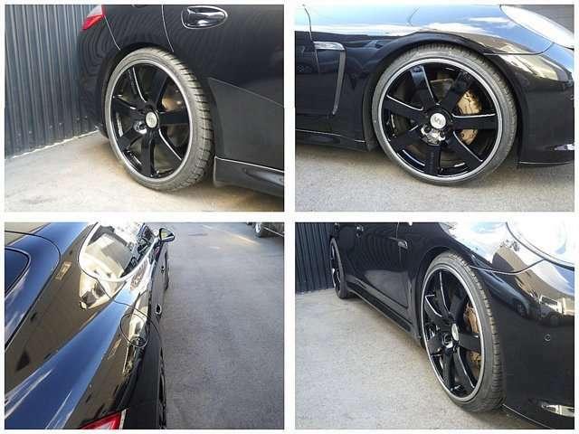スポーツテクニック22インチ、ガリ傷なしブラックディスク&タイヤ4本新品装着&ワイドスペーサー装着で見た目もGOODです。」
