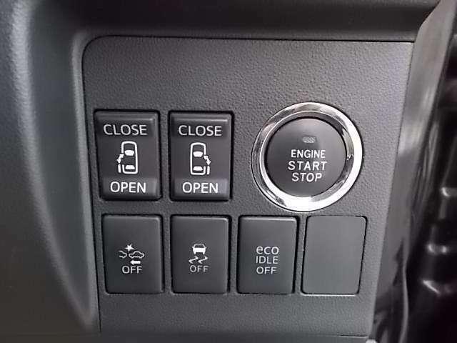 両側パワースライドドアスイッチ、アイドリングストップ、衝突被害軽減装置、横滑り防止、で安全運転をサポートしてくれます。♪