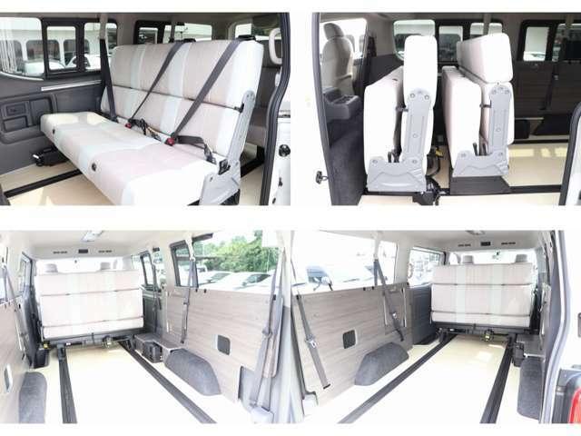 3点式シートベルト付きでチャイルドシート取り付けも可能 前向き・後ろ向き・ベッド展開とシートアレンジも多彩!!