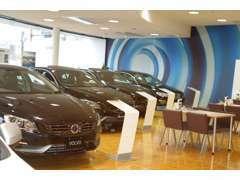常時8台の展示スペース。広々とした空間が素敵なショールームを演出しています。新型車両展示致しております。