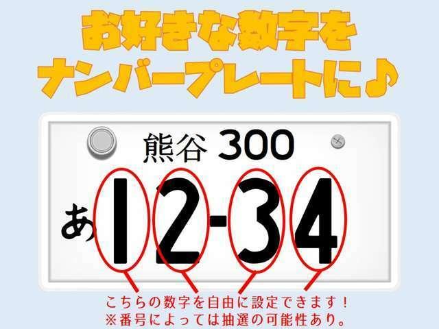 Aプラン画像:お客様のお好きな数字をナンバープレートにしませんか?※数字によっては抽選になります。