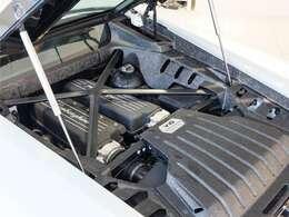 V10、5.2L。カーボンエンジンカバーでアクセントを加えたエンジンルーム。