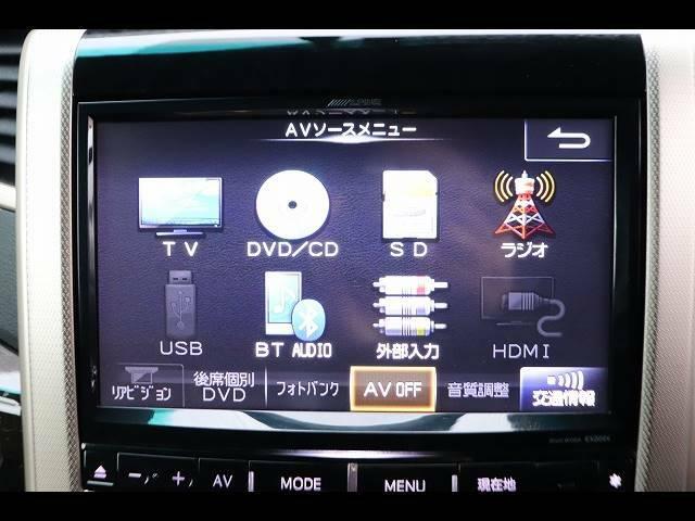 アルパイン9型型ナビを装備TV、ブルートゥース接続、DVD再生可能、音楽の録音も可能です。