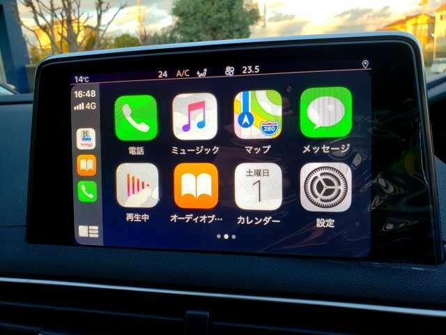 カープレイにてお手持ちのスマートフォンでアンドロイドオート、アップルカープレイがご利用可能です。