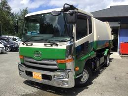 UDトラックス コンドル 極東製 巻込み式パッカー車 容積7.7立米 汚水タンク 連続スイッチ 6MT ベット付き