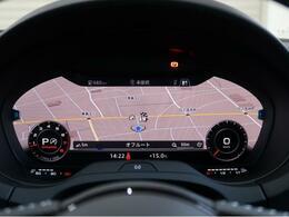【Audi バーチャルコックピット】液晶フルデジタルディスプレイにスピードメーター、タコメーター、マップ表示、メディア情報などフレキシブルに表示させるバーチャルコックピットを装備。ステアリングホイール