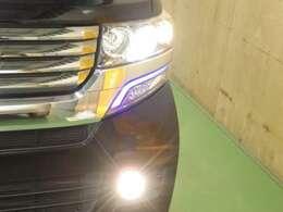 HIDライトはより遠くを照らすために、フォグライトは足元を広く照らしてくれるので夜道も走りやすい!