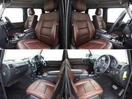 チェストナットブラウン色の本革シートが採用されています。 柔らかく肌触りのよいレザーシートは長時間のドライブでも疲れ知らず!
