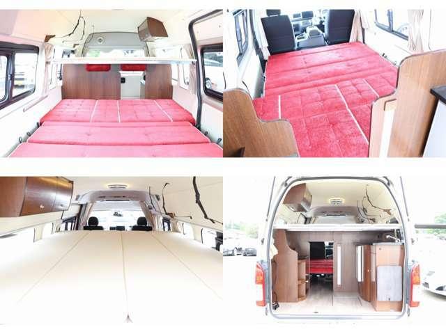 ベッドサイズ ダイネットベッド展開 211cm×167cm 上段ベッド 200cm×160cm 大人4名の就寝が可能