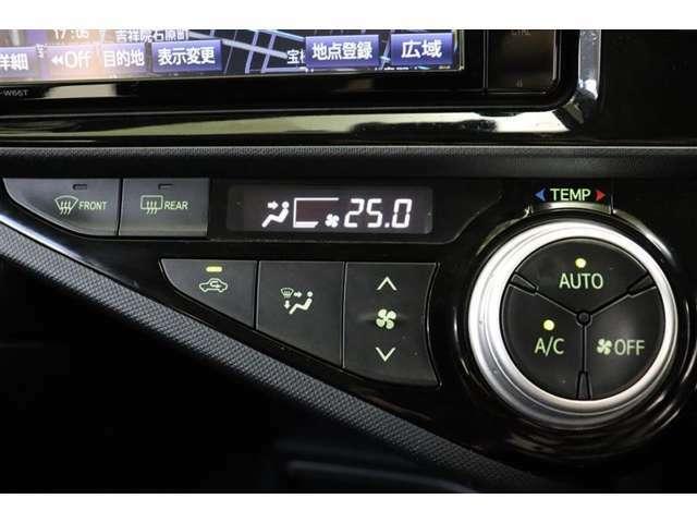 エアコンは操作性に優れたプッシュ式です。温度調整はダイヤル式。シンプルデザインで使いやすくなっています。
