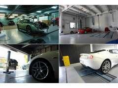 自社工場には、各種テスター、車検ラインを完備致しております。車種を問わずメンテナンスが可能です。