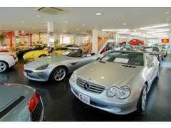 在庫台数200台他、屋内展示場にも、常時約30台の名車を展示