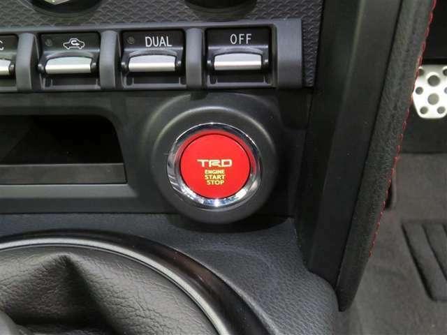 TRDプッシュスタートスイッチ。ドライブの気分を高める、さりげなくもセンスが光るパーツです。