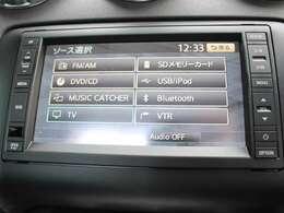 純正ナビ、DVD再生、フルセグTV、ミュージックサーバー機能、SDカード対応、USB入力端子、Bluetooth