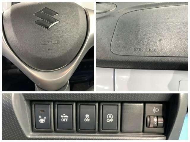 運転席、助手席エアバックはもちろんの事、横滑り防止機能も装備しています。