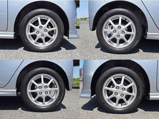 純正14インチアルミホイール装着♪ タイヤ4本とフロントブレーキパッドも新品に交換☆彡