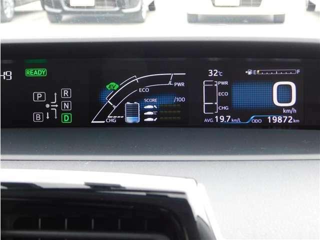 4.7インチツインTFT液晶ディスプレイのメーターパネル。燃費情報など様々な情報を表示させる事が可能です。走行距離は19872km(入荷時)と少なめ。