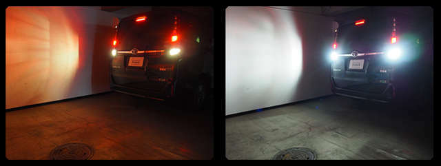 バックモニターでも明るく後方確認しやすくなり夜間の駐車もあんしんです★