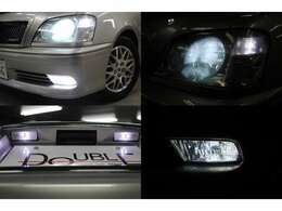 ディスチャージヘッドライト装備です。フォグランプ・ポジションライト・ナンバー灯はLEDを取付済みです。