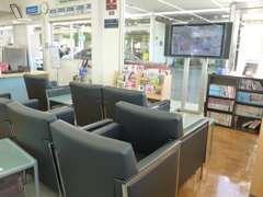 整備などで店内で待つ際にはこちらの待合室でお待ちいただけます