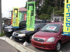 展示車輌。コンパクト、RV、軽自動車ラインナップも豊富です。