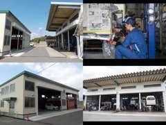 民間車検工場・鈑金塗装工場を兼ねた当社工場です。中古車の納車点検整備・外装仕上げもお任せ下さい。