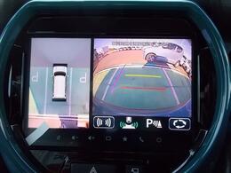 フロントグリル、ドアミラー、バックドアにカメラが付いていて、駐車の時にナビ画面で自車位置を確認出来ますよ☆幅寄せも安心ですね☆車を斜め上から見たような3Dビューも表示できます!
