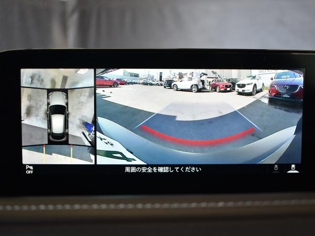 車両の前後にある4つのカメラを活用してセンターディスプレイの表示や、各種警報音で低速走行時や駐車時に車両周辺の確認をする360度ビューモニターを装備してます