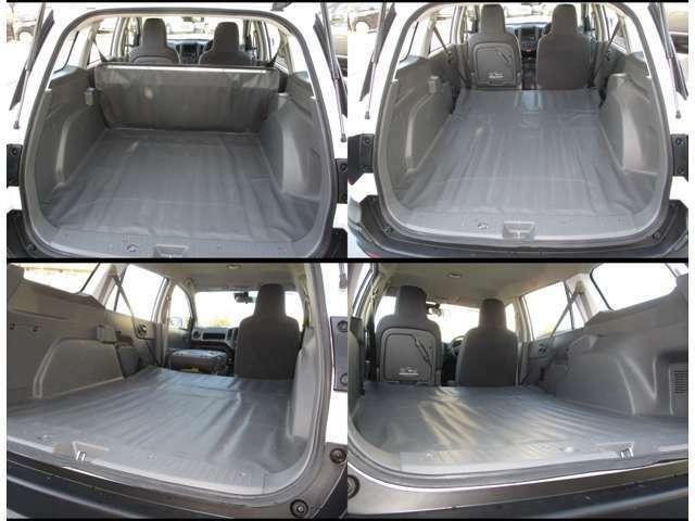 リヤシートを倒すと、全長190cmを超える荷室になります。