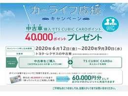 トヨタ・レクサスの中古車を購入で、TS CUBIC CARDポイント40,000ポイントをプレゼント!「使ってバック」にご利用した場合、60,000円分として、おクルマのクレジットに充当できます!