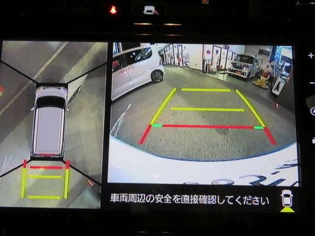 より安全装備付いて安全で安心☆全周位カメラ付き、フロント、サイド、バックにカメラ付き、発進前に周りの安全確認てき安心、危険をアラームでお知らせ駐車や車庫いれ等にも便利にお使いただけより安全で安心です