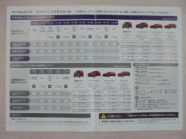 Bプラン画像:当社では中古車にも定期点検などをセットにしたお得なパックデメンテをご用意しております車種や車検タイミングにより様々ばプランをご用意させて頂きます。